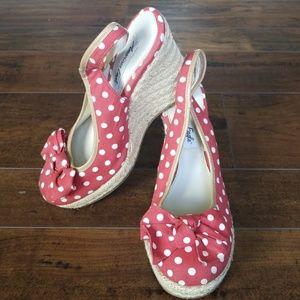American Eagle Red Polka Dot Wedge Shoes